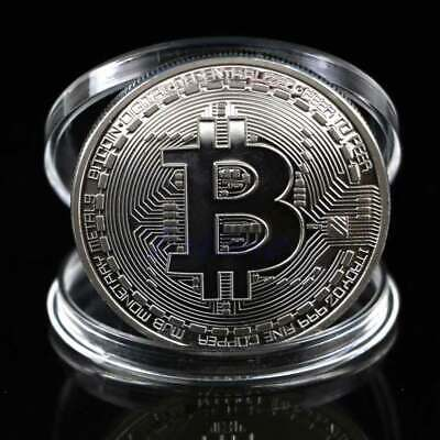 2018 Bitcoin Physical Collectible Coin BTC Silver Plated 1 Ounce 40mm UK Stock