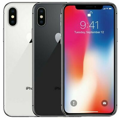 Apple iPhone X - 64GB - Silver Gray (Unlocked) T-mobile AT&T Verizon Sprint A