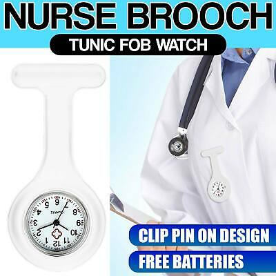 Silicone Nurses Pocket Brooch Tunic Watch Clip Fob Doctor Medical Free Battery