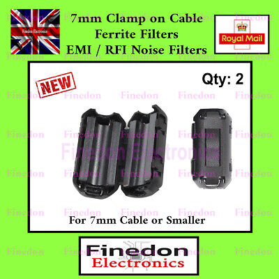 2 Qty Black Clip On Clamp RFI EMI Noise Filters Ferrite Core For 7mm UK Seller