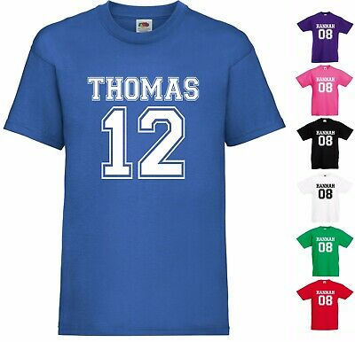Personalised T-Shirt Name & Number Sports Boys Girls Kids Child Unisex Gift Top