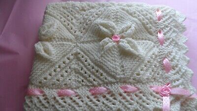 Hand Knit Beautiful Baby Girls Cream Blanket With Pink  Ribbon & Roses Nwot