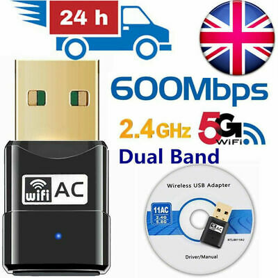 Fast Dual Band 600Mbps WiFi USB Adapter Wireless Net LAN Dongle For Pc Laptop