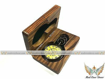 Nautical Maritime Antique Brass Pocket Watch Chain Pendant Clock With Wooden Box