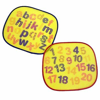 2 Car Window Shades Letters & Numbers Kids Fun Picture Sun Sunshades 44 x 36cm