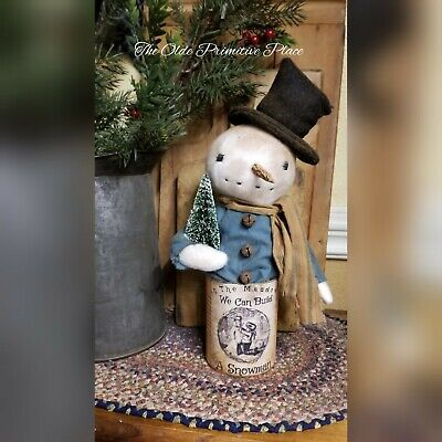 Handmade Primitive Snowman In Can With Vintage Label-Winter-Seasonal