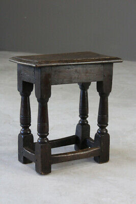 Antique 17th Century Style Oak Joint Stool
