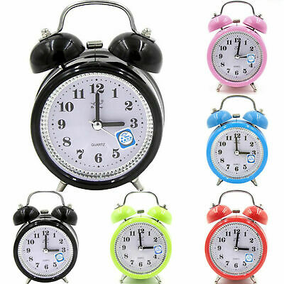 Retro Super Loud Double Bell Alarm Clock with Night Light Bedside Home Room Prop