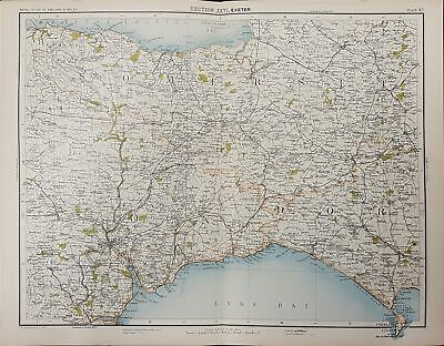 Victorian map of Exeter, East Devon, Somerset and West Dorset, Published 1891