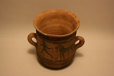 Ancient Greek Early Attic Black-Figure Kantharos : 600 - 500 B.C - pottery cup