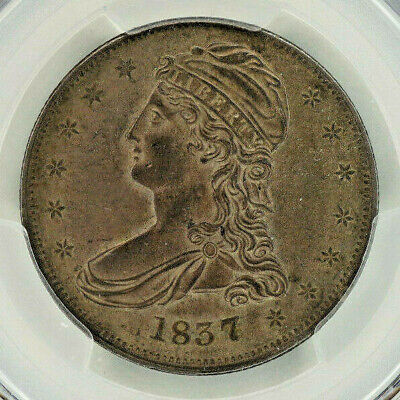 1837 Capped Bust Silver Half Dollar PCGS AU53 - Lovely Antique Toning