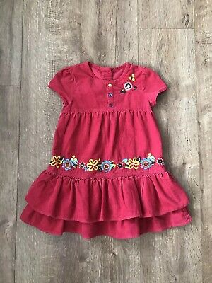 Marks And Spencer Girl Red Embroidered Corduroy Dress 2-3 Years