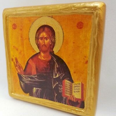 Jesus Christ Pantocrator Byzantine Art Greek Orthodox Icon on Premium Wood