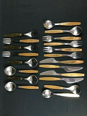 Georg Jensen Strata Stainless Steel Gold Tone 5 piece Service for 4 - 20 Pieces