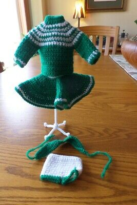"Vintage OOAK Handmade Crochet Green 4 Pc Outfit  Fits 11 1/2"" Doll like Barbie"