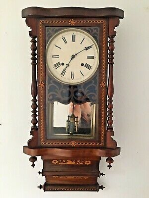 Antique Victorian 'New Haven' Inlaid Wall Clock