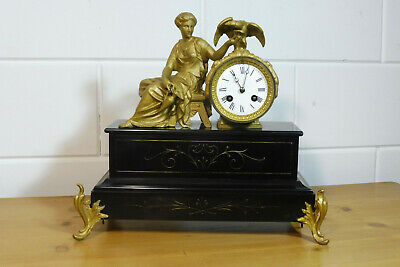 Antique French Mantel Clock Table Clock Marbel Bronze Clock