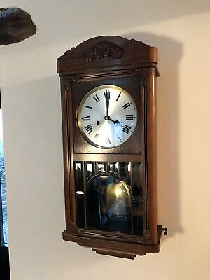 Antique wall clock. H.A.C Hamburg America Co Wurttemberg Germany. Chimes 8 Day .