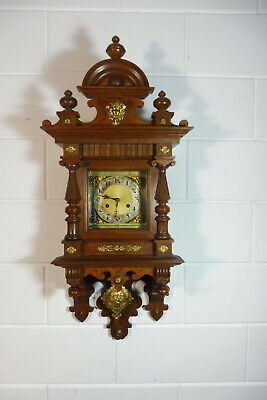 Antique German Wall Clock Oak Wood Regulator Junghans Movement