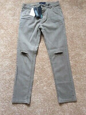 Boys Next Khaki Brown Ripped Skinny Jeans Age 10 BNWT