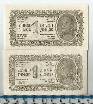 1944 Pair of 1 Dinar Yugoslavia Banknote Currency P48a UNC.