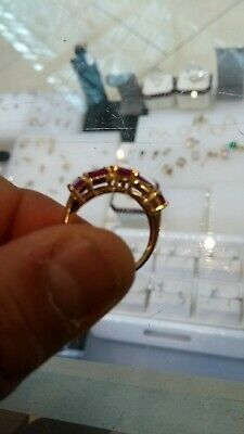 14k Yellow Gold 5 Stone Red Ruby Ladies Ring Size 7