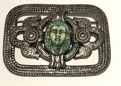 "Vintage Silver Tone Czech Brooch Egyptian Revival Art Deco Good Clasp 2.5"" Wide"