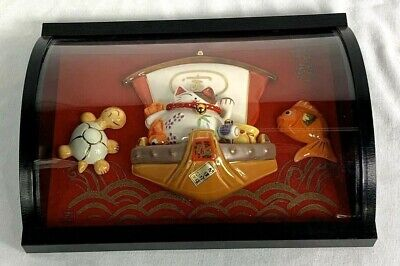 Cute Japanese Porcelain Lucky Cat Wall Hanging
