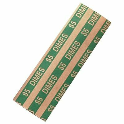 Flat Coin Wrappers, Dimes, 1000/BX, Green