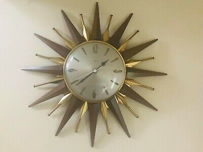 Vintage / Retro Metamec sunburst / starburst Wall Clock.