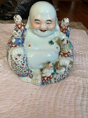 Rare Chinese Export Famille Rose Porcelain Buddha w/children Statue Signed