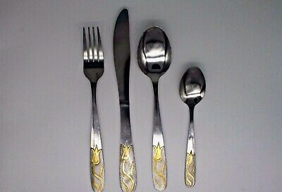 4-24 STAINLESS STEEL WITH FLOWER PATTERN  KITCHEN CUTLERY DINNING SETS
