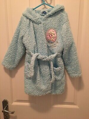 Matalan Disney Frozen Girls Blue Fluffy Glitter Robe Dressing Gown - Age 5 Years