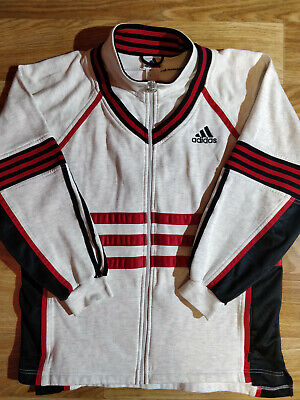Adidas 90's Vintage Mens Tracksuit Top Jacket Hype Big Logo Red Black Stripes