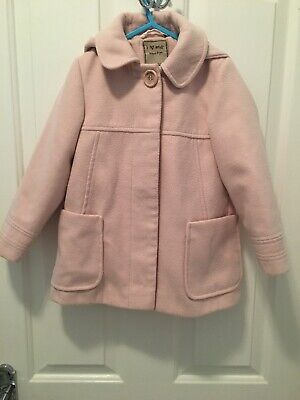 Next Girl's Pink Smart Hooded Lined Swing Coat Jacket - Age 4-5 Years