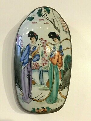 LG Silver Plate Box w. Antique Chinese Porcelain Shard Two Ladies w Butterflies