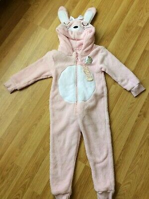 Primark Girls Fluffy Bunny All-In-One Night Suit Pink & White Size 3-4 Brand New