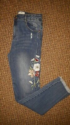 Girls Skinny Jeans Size 14-15 Years (166cm) Ripped With Embroidered Flowers