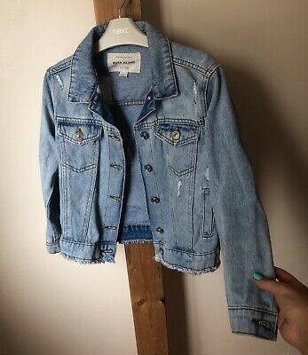 River Island Girls Age 7-8 Years Blue Denim Jacket Ripped Back Excellent Conditi