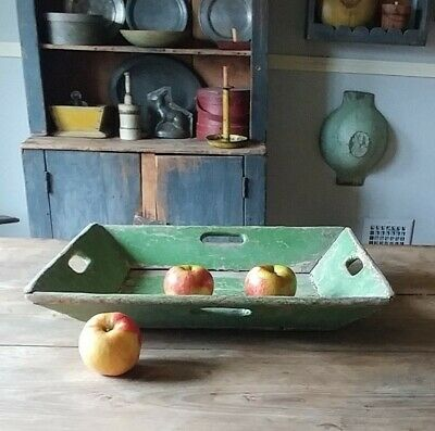 Best Antique Primitive Large Apple Green Paint Wood Apple Box Tray - Aafa