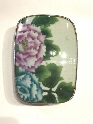 Antique Chinese Porcelain Shard Silver Plated Box with Purple and Blue Peony