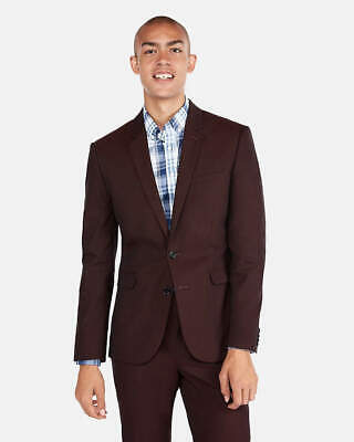 Extra Slim Burgundy Red Cotton Blend Stretch Suit Jacket NEW Express 46S Short