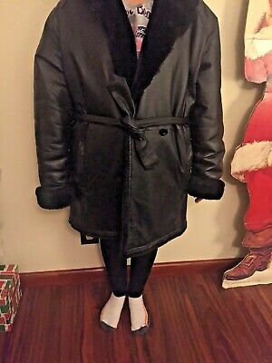 Women's 100% Leather Coat, with hood.  Black Faux Fur Lining ,Size small. Heavy