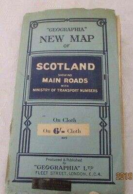 Geographia'' New map of Scotland on cloth Fleet st London 1923