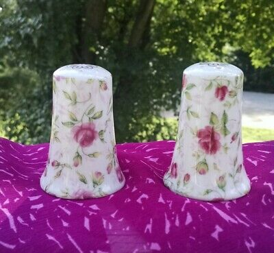 Vintage Lefton China Pink Rose Chintz Salt and Pepper Shakers Set of Two 665R