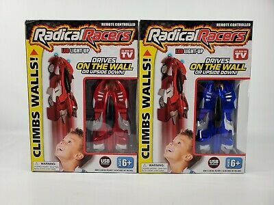 2x Radical Racers LED Light UP GRAVITY DEFYING RACER CLIMBS WALLS Remote Control