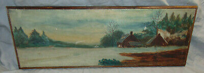 Antique Naive Rustic Home & Landscape O/C Painting Signed & Dated w/ Frame