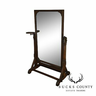 Aesthetic Movement American Antique Oak Cheval Mirror: Daniel Pabst Attributed