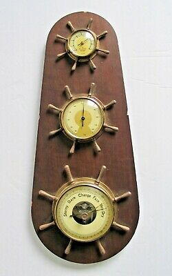 Vintage Nautical Weather Station Thermometer Barometer Humidity Ship Germany