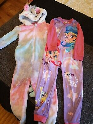 Girls pjs Unicorn And Shimmer and Shine All In One 4-5 years